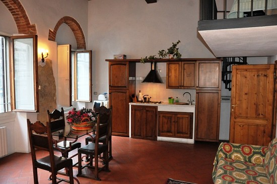 The living area and the kitchenette